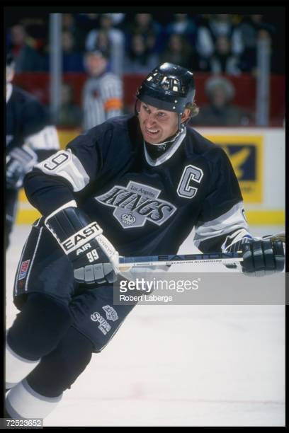Center Wayne Gretzky of the Los Angeles Kings moves down the ice during a game against the Montreal Canadiens at Montreal Forum in Montreal Quebec...