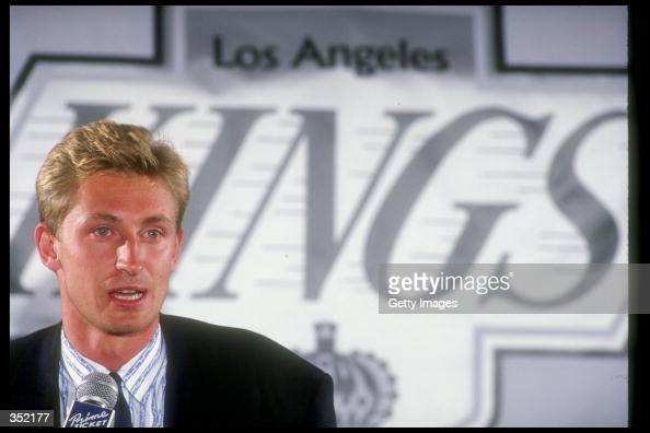 Center Wayne Gretzky speaks at a press conference announcing his trade to the Los Angeles Kings at the Forum on August 9 1988 in Inglewood California...