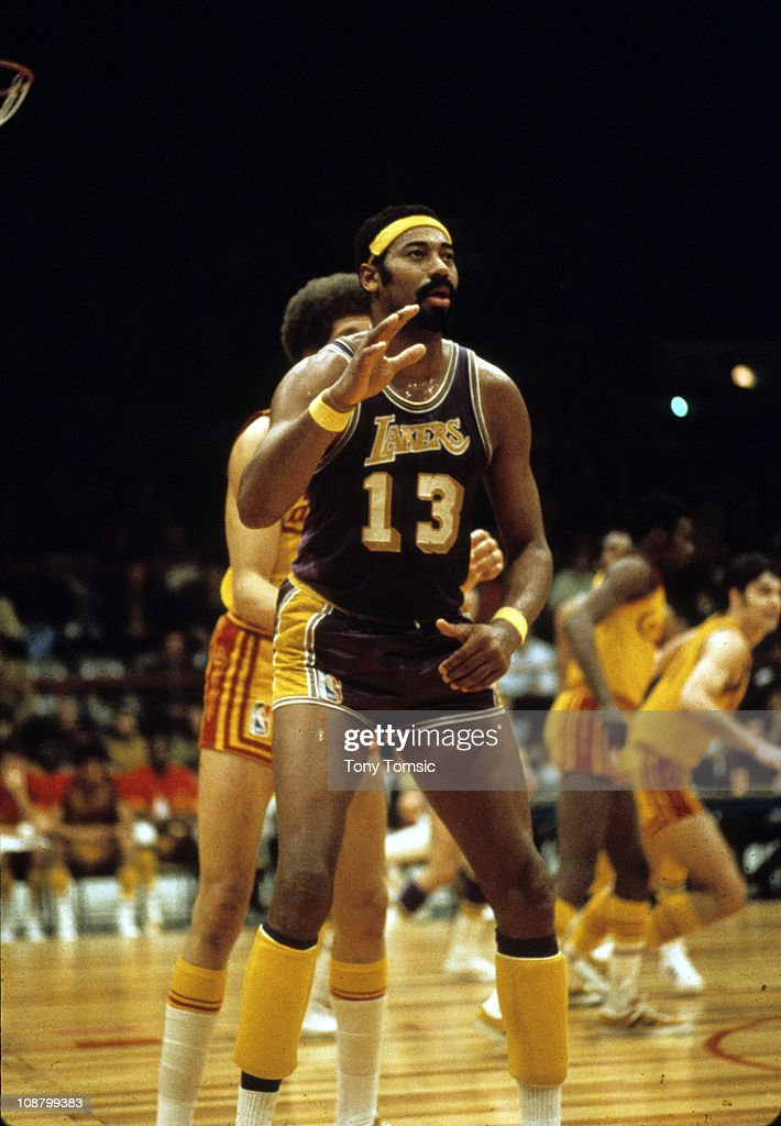 Center Wilt Chamberlain of the Los Angeles Lakers. Known as Wilt the Stilt or The Big Dipper, he is regarded as one of the greatest and most dominant NBA basketball players of all time for the incredible statistical achievements he attained throughout his playing career.