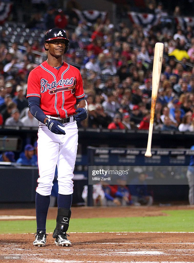 Centerfielder B.J. Upton #2 of the Atlanta Braves throws the bat after striking out during the game against the Chicago Cubs at Turner Field on April 5, 2013 in Atlanta, Georgia.
