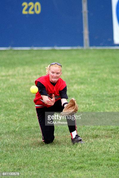 Centerfielder Chantelle Andrews of Muskingum College makes a diving catch against Central College during the Division 3 Women's Softball Championship...
