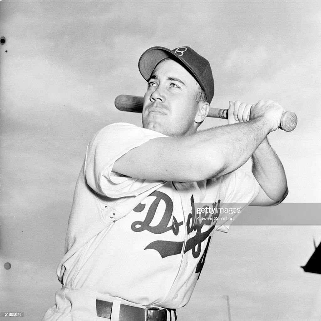 Centerfielder Duke Snider of the Brooklyn Dodgers poses for an action portrait prior to a game circa the late 1950's at Ebbets Field in Brooklyn, New York. Edwin Donald Snider played for the Dodgers from 1947-1962.