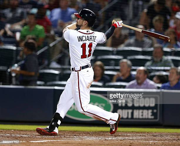 Centerfielder Ender Inciarte of the Atlanta Braves hits a 2run home run in the sixth inning during the game against the Washington Nationals at...