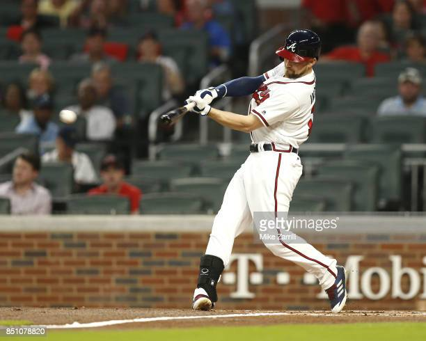 Centerfielder Ender Inciarte of the Atlanta Braves hits a leadoff triple in the first inning during the game against the Washington Nationals at...