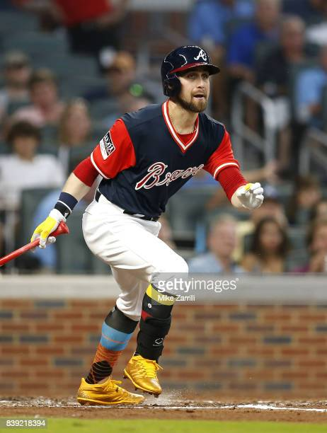 Centerfielder Ender Inciarte of the Atlanta Braves hits an RBI fielder's choice ground out in the second inning during the game against the Colorado...