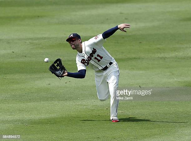 Centerfielder Ender Inciarte of the Atlanta Braves makes a running catch in the seventh inning during the game against the Philadelphia Phillies at...