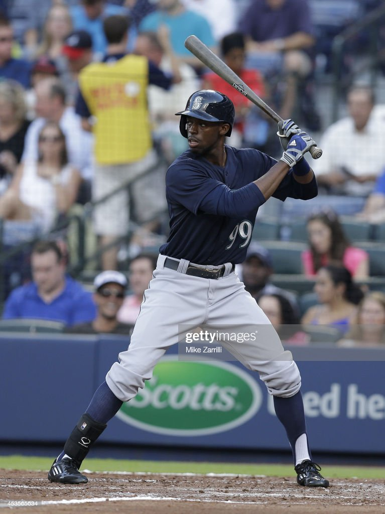 Centerfielder James Jones of the Seattle Mariners gets set for a pitch in the batter's box during the game against the Atlanta Braves at Turner Field...