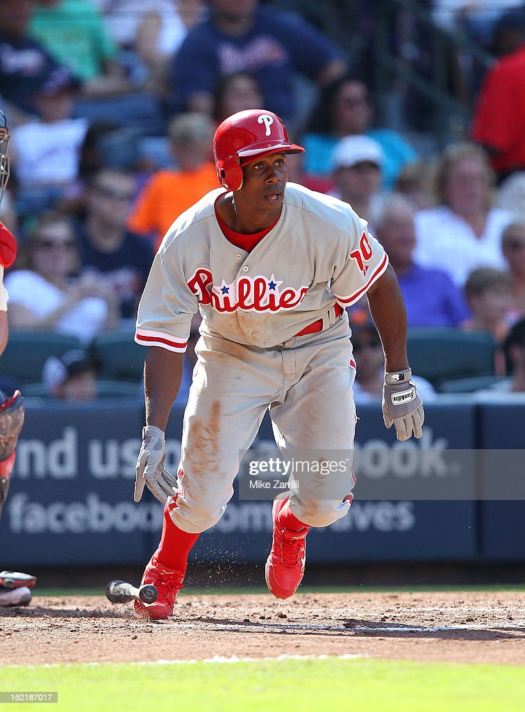 Centerfielder <a gi-track='captionPersonalityLinkClicked' href=/galleries/search?phrase=Juan+Pierre&family=editorial&specificpeople=202961 ng-click='$event.stopPropagation()'>Juan Pierre</a> #10 of the Philadelphia Phillies breaks out of the batter's box during the game against the Atlanta Braves at Turner Field on September 1, 2012 in Atlanta, Georgia.