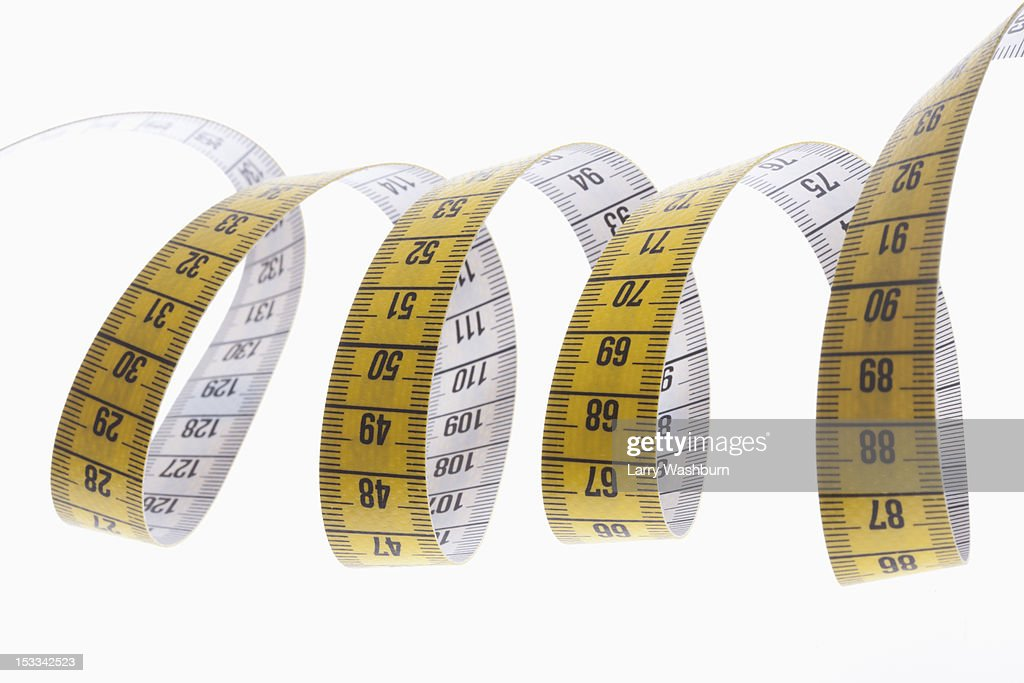 A centimeter tape measure arranged in a spiral shape