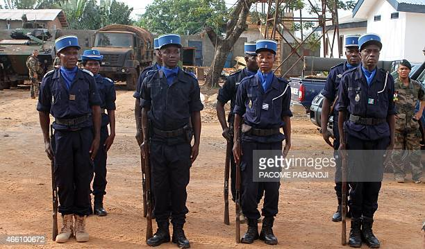 Centrafrican gendarmes stand during the ceremony marking the power transfer between French Sangaris troops and Centrafrican gendarmes on March 13...