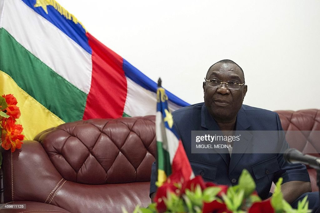 Central African president <a gi-track='captionPersonalityLinkClicked' href=/galleries/search?phrase=Michel+Djotodia&family=editorial&specificpeople=10107290 ng-click='$event.stopPropagation()'>Michel Djotodia</a> gives a statement to the press at his residence in Bangui on December 31, 2013. Christian militiamen attacked a Central African army base in the capital Bangui on December 31, 2013, as French and African soldiers struggled to contain sectarian violence. Vigilantes attacked a military position at the PK-11 crossroads on the northern outskirts of Bangui, General Mahamat Tahir Zaroga told AFP.