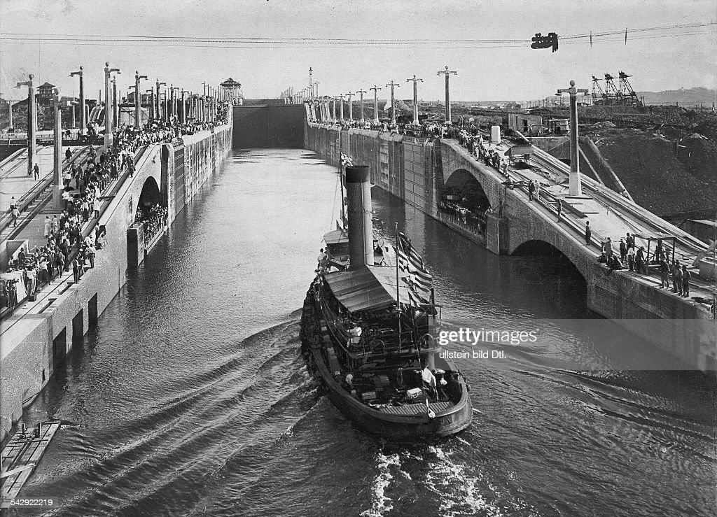 Central America construction of the Panama Canal The first boat passes through the Gatun locks following the opening of the Panama Canal 15 August...