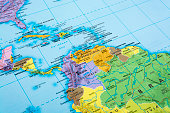 Map of Central America.  Detail from THE POLITICAL MAP OF THE WORLD.