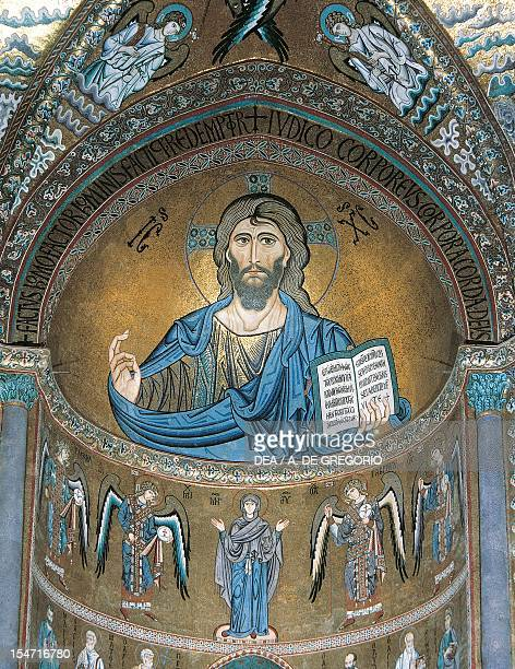 Central apse mosaics Cefalu' Cathedral Sicily Italy 12th century