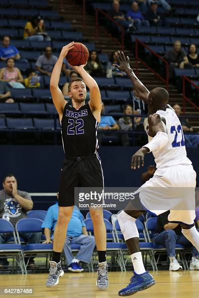 Central Arkansas Bears forward Tanner Schmit shoots the ball during a game between Central Arkansas and New Orleans on February 18 2017 at Lakefront...