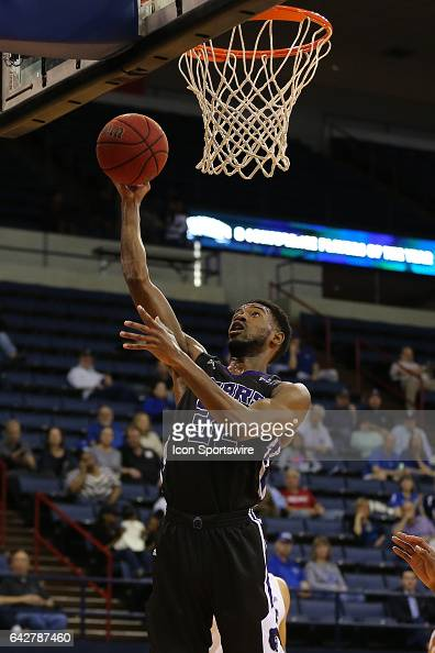 Central Arkansas Bears guard Derreck Brooks lays up during a game between Central Arkansas and New Orleans on February 18 2017 at Lakefront Arena in...