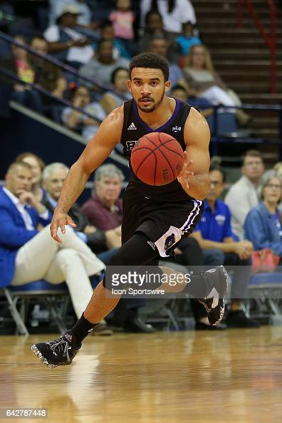 Central Arkansas Bears guard Jeff Lowery dribbles the ball during a game between Central Arkansas and New Orleans on February 18 2017 at Lakefront...