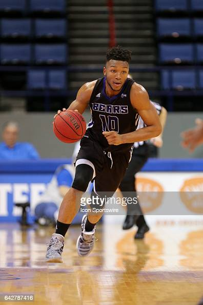 Central Arkansas Bears guard Mathieu Kamba brings the ball up court during a game between Central Arkansas and New Orleans on February 18 2017 at...