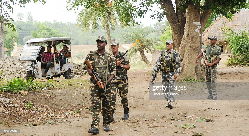 Central Armed Forces Patrolling in a village on the eve of elections on May 4, 2016 in Nandigram, India. It was police firing in Nandigram that propelled Mamata Banerjee to power in 2011, removing the CPM from power in a state it ruled for 35 years.