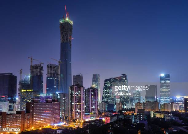 Central Business district at night,Beijing,China