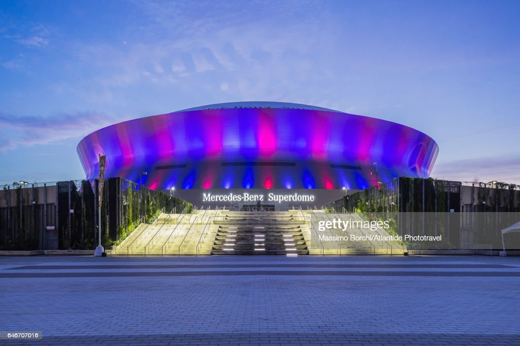 Central Business District, view of the Mercedes-Benz Superdome : Stock Photo