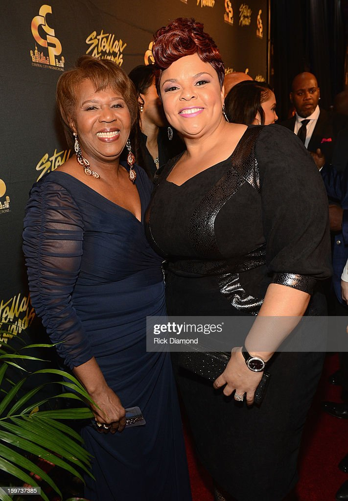 Central City Productions COO Erma Davis and Tamela Mann arrive at the 28th Annual Stellar Awards at Grand Ole Opry House on January 19, 2013 in Nashville, Tennessee.
