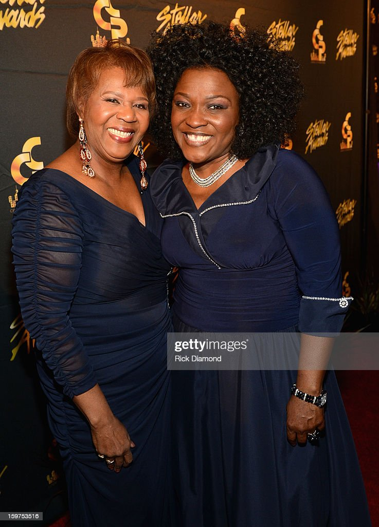 Central City Productions President & COO Erma Davis and Angela Spivey arrive to the 28th Annual Stellar Awards Red Carpet at Grand Ole Opry House on January 19, 2013 in Nashville, Tennessee.