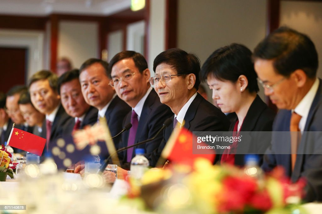 Central Commission on Political and Legal Affairs, Secretary Meng Jianzhu speaks at the inaugural Australia-China High-level Security Dialogue at Shangri-La Hotel on April 21, 2017 in Sydney, Australia. It is the first time representatives from the two countries have met for high-level security talks.