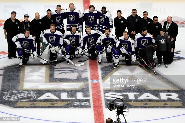 Central Division players and coaches pose on the ice prior to the 2017 Honda NHL AllStar Game at Staples Center on January 29 2017 in Los Angeles...