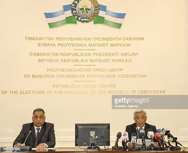 Central Election Commission of Uzbekistan Mirza Ulugbek Abdusalomov holds a media conference in Tashkent Uzbekistan on March 29 as the voters...