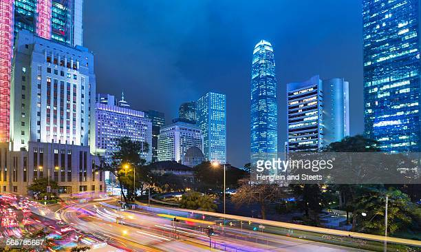 Central Hong Kong business district, Chater garden and skyline with IFC building, Hong Kong, China