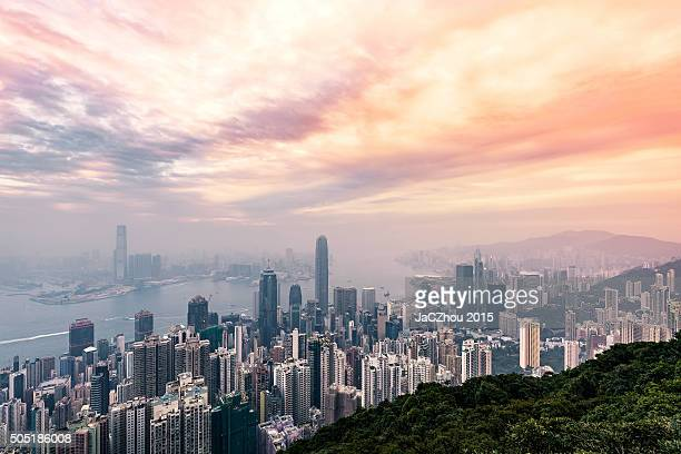 Central Hong Kong skyline and Victoria harbor