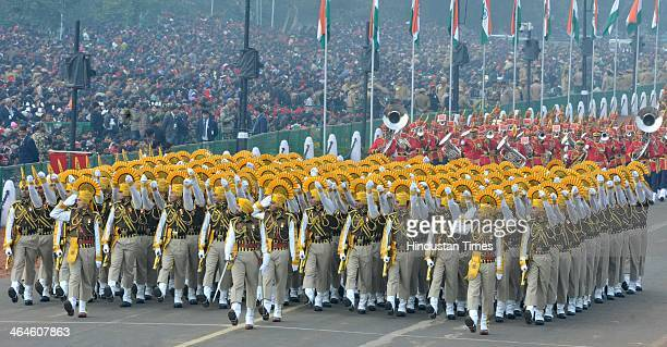 Central Indusrial Security Force Jawans passing through the saluting base during the full dress rehearsal for Republic Day Parade at Rajpath on...