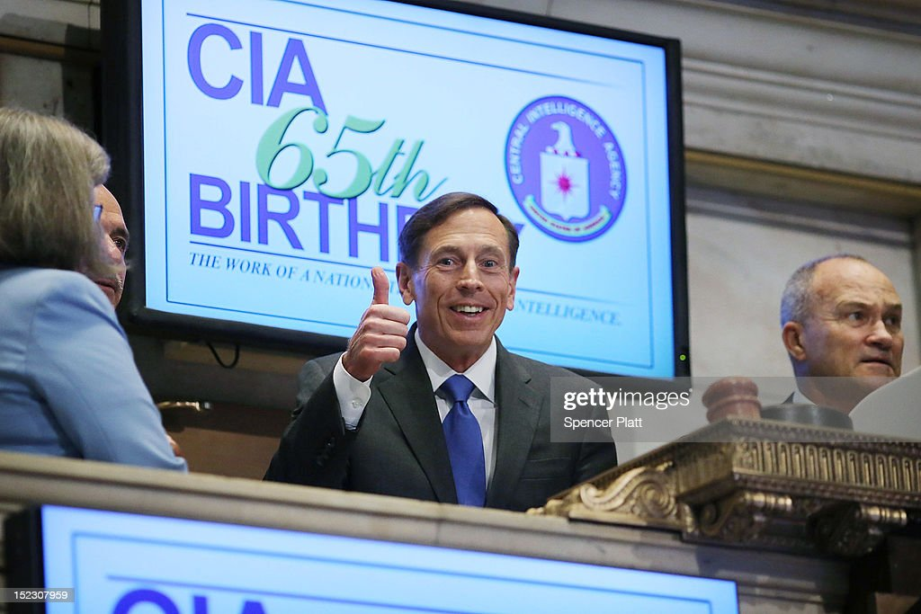 Central Intelligence Agency Director <a gi-track='captionPersonalityLinkClicked' href=/galleries/search?phrase=David+Petraeus&family=editorial&specificpeople=175826 ng-click='$event.stopPropagation()'>David Petraeus</a> (C) prepares to ring the Opening Bell of the New York Stock Exchange as the CIA Commemorates it's 65th Anniversary while New York City Police Commissioner <a gi-track='captionPersonalityLinkClicked' href=/galleries/search?phrase=Raymond+Kelly&family=editorial&specificpeople=551131 ng-click='$event.stopPropagation()'>Raymond Kelly</a> (R) looks on September 18, 2012 in New York City. Stocks fell in early trading as investors continued to be concerned about Europe and the global economy.