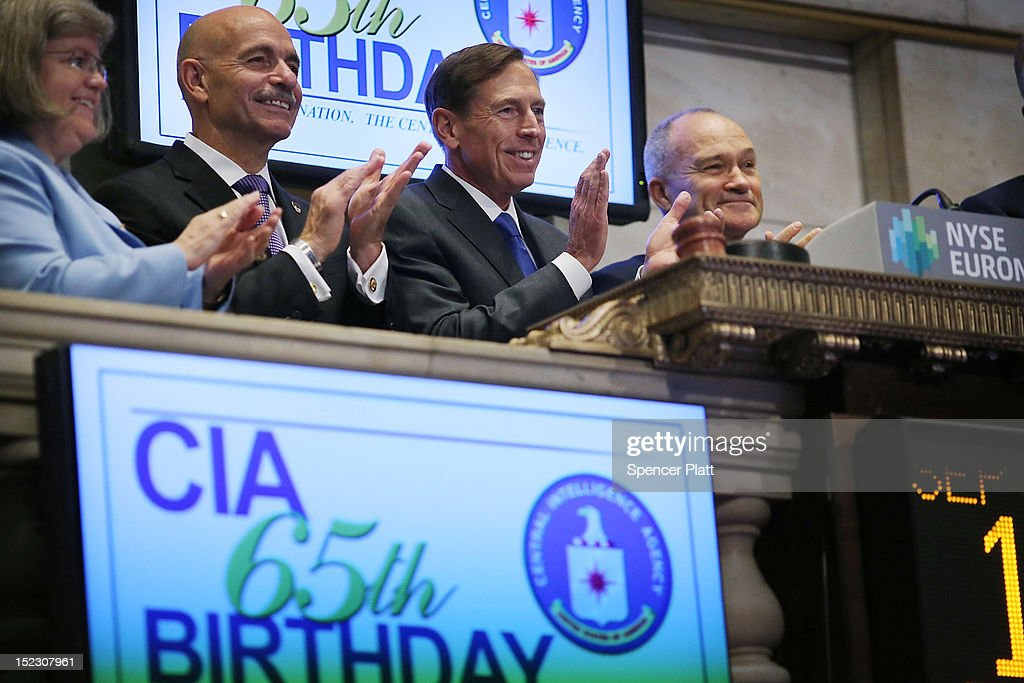 Central Intelligence Agency Director David Petraeus (2nd R) prepares to ring the Opening Bell of the New York Stock Exchange as the CIA Commemorates it's 65th Anniversary while New York City Police Commissioner Raymond Kelly (R) applauds on September 18, 2012 in New York City. Stocks fell in early trading as investors continued to be concerned about Europe and the global economy.