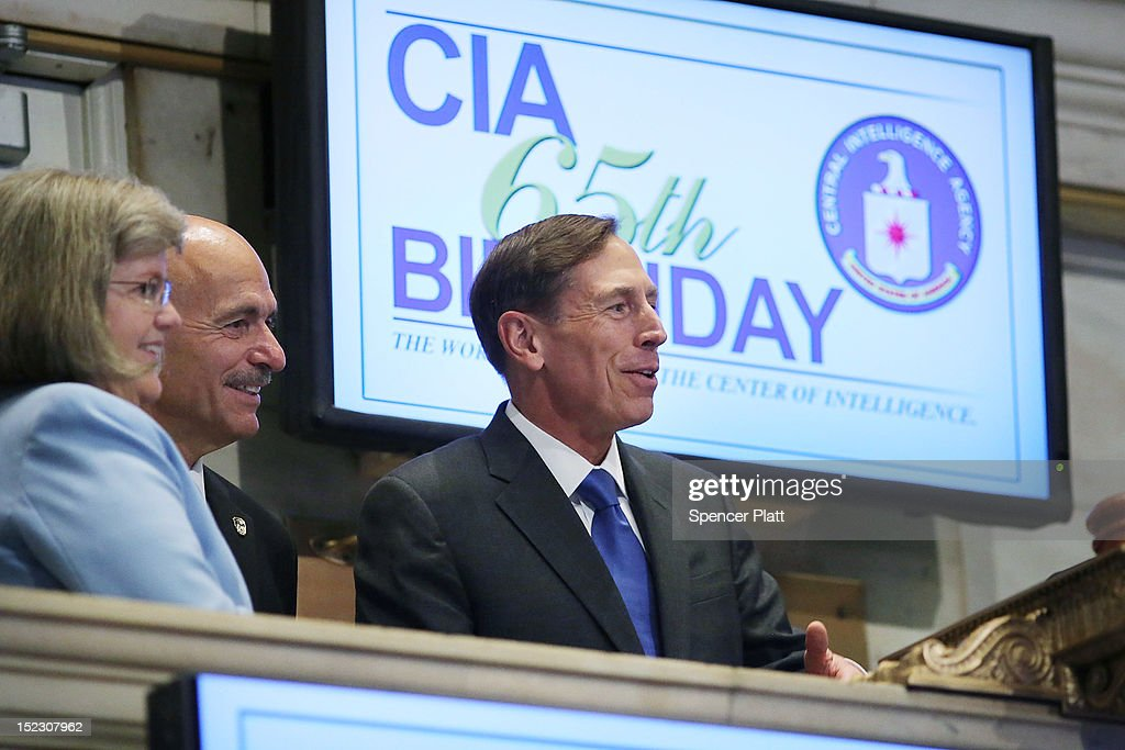Central Intelligence Agency Director <a gi-track='captionPersonalityLinkClicked' href=/galleries/search?phrase=David+Petraeus&family=editorial&specificpeople=175826 ng-click='$event.stopPropagation()'>David Petraeus</a> (R) prepares to ring the Opening Bell of the New York Stock Exchange as the CIA Commemorates it's 65th Anniversary September 18, 2012 in New York City. Stocks fell in early trading as investors continued to be concerned about Europe and the global economy.