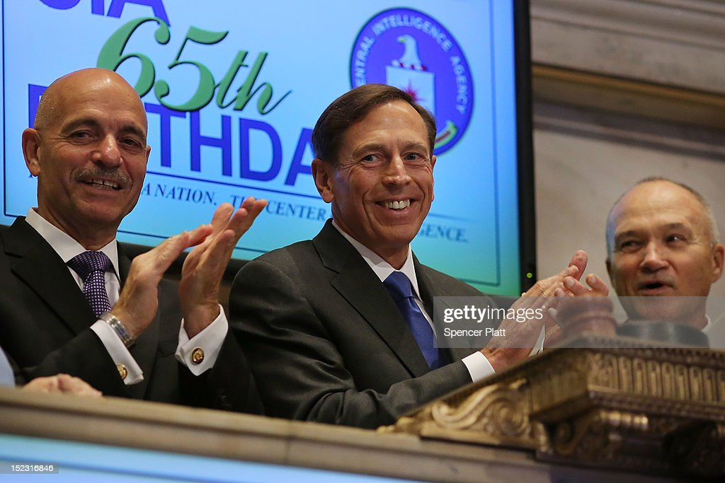 Central Intelligence Agency Director <a gi-track='captionPersonalityLinkClicked' href=/galleries/search?phrase=David+Petraeus&family=editorial&specificpeople=175826 ng-click='$event.stopPropagation()'>David Petraeus</a> (center) prepares to ring the Opening Bell of the New York Stock Exchange as the CIA Commemorates it's 65th Anniversary on September 18, 2012 in New York City. Standing to Mr. Petraeus's left is New York City Police Commissioner <a gi-track='captionPersonalityLinkClicked' href=/galleries/search?phrase=Raymond+Kelly&family=editorial&specificpeople=551131 ng-click='$event.stopPropagation()'>Raymond Kelly</a> and on his right is Salvatore Cassano, NYC Fire Commissioner. Stocks fell in early trading as investors continued to be concerned about Europe and the global economy.
