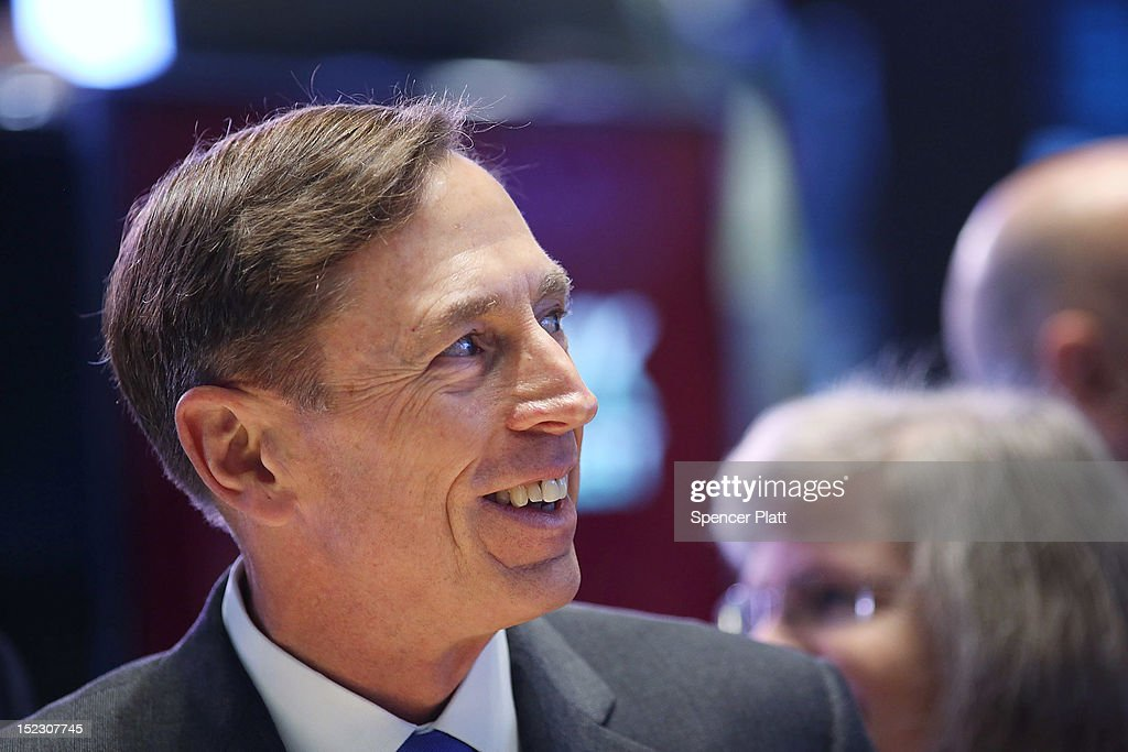 Central Intelligence Agency Director <a gi-track='captionPersonalityLinkClicked' href=/galleries/search?phrase=David+Petraeus&family=editorial&specificpeople=175826 ng-click='$event.stopPropagation()'>David Petraeus</a> walks the floor of the New York Stock Exchange to ring the Opening Bell as the CIA Commemorates it's 65th Anniversary on September 18, 2012 in New York City. Stocks fell in early trading as investors continued to be concerned about Europe and the global economy.