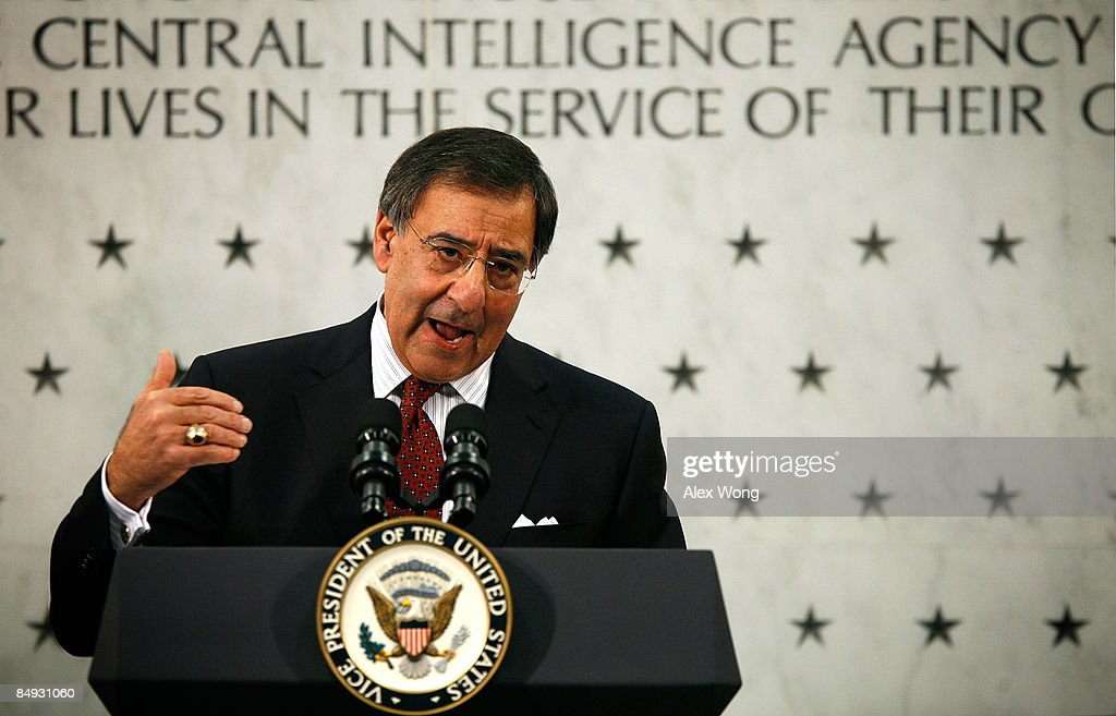 Central Intelligence Agency Director Leon Panetta speaks during his ceremonial swearingin at the CIA headquarters February 19 2009 in McLean Virginia...