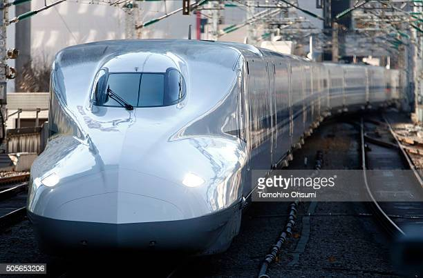 Central Japan Railway Co Shinkansen bullet train arrives at Tokyo Station on January 19 2016 in Tokyo Japan Japanese rollingstock manufacturers have...