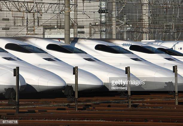 Central Japan Railway Co's 700 series Shinkansen bullet trains are parked at a train yard in Tokyo Japan on Wednesday March 10 2010 Central Japan...