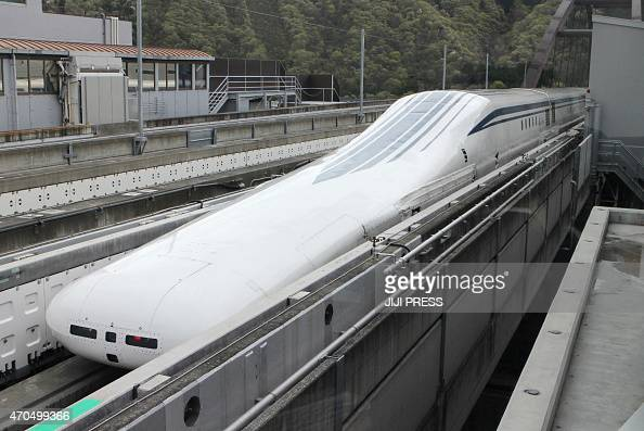 Central Japan Railway's sevencar maglev short for 'magnetic levitation' train returns to the station after setting a new world speed record in a test...