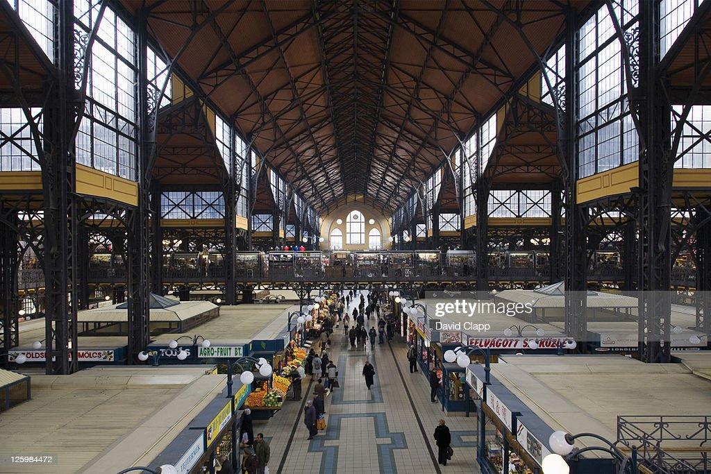 Central Market Hall, Nagy Vasarcsarnok, a large indoor food market, Budapest, Hungary : Stock Photo