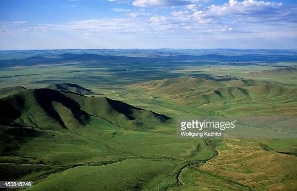 Central Mongolia Near Hustai National Park Aerial View Of Grasslands