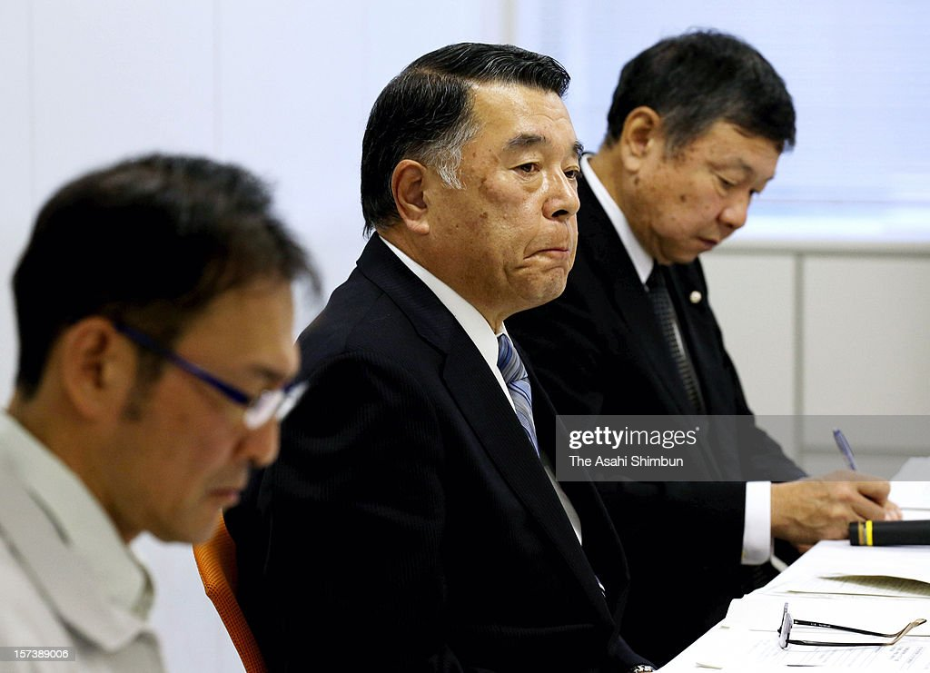 Central Nippon Expressway Company Ltd president attends the press conference of the accident of Sasago Tunnel of the Chuo expressway at their headquarters on December 2, 2012 in Nagoya, Aichi, Japan. The concrete ceiling panels of the tunnel collapsed more than 110 metres and at least 9 people confirmed dead.