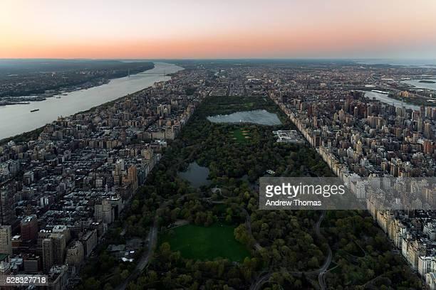 central park aerial @ dusk