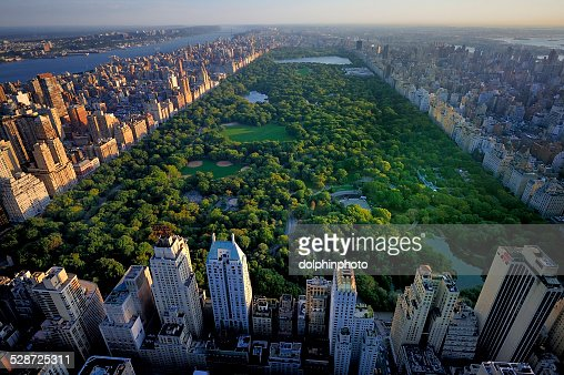 Central Park aerial view, Manhattan, New York : Stock Photo