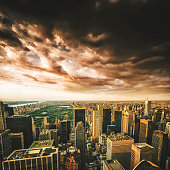 Central Park and manhattan aerial view
