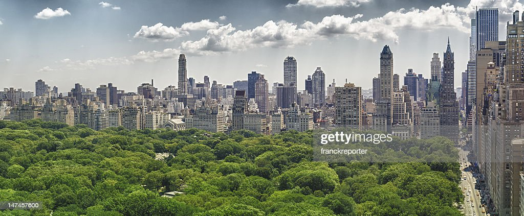 Central Park and Skyline from skyscraper office : Stock Photo