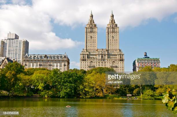 Central Park Lake and West Side skyline, New York City